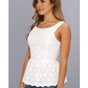 Lilly Pulitzer Ashton Ruffled Eyelet Peplum Top